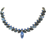 Vintage Kramer Blue Rhinestone Necklace - Signed
