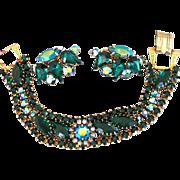 Superb Weiss Emerald Green Bracelet and Earrings