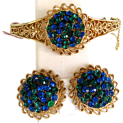 Radiant Green and Blue Rhinestone Clamper Parure