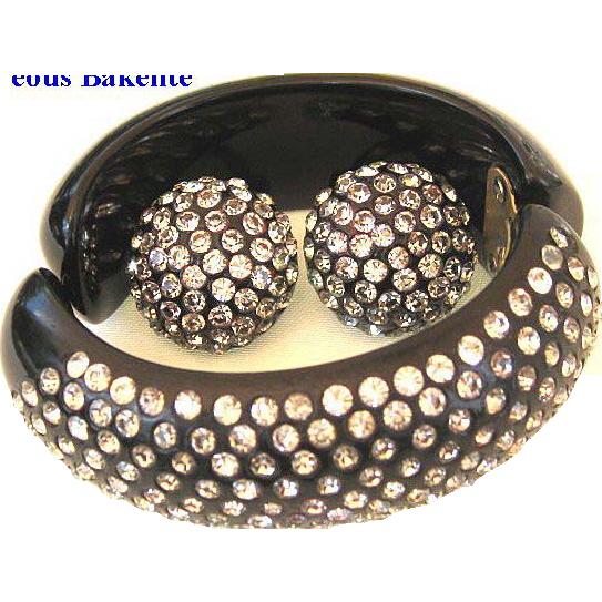 Gorgeous Bakelite Clamper & Earrings Black with Lots of Sparkling Clear Rhinestones