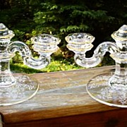 Fostoria Rambler Etched Candleholders W/Gold Colored Trim