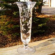"Cambridge Elaine Etched 6004 8"" Flower Vase"