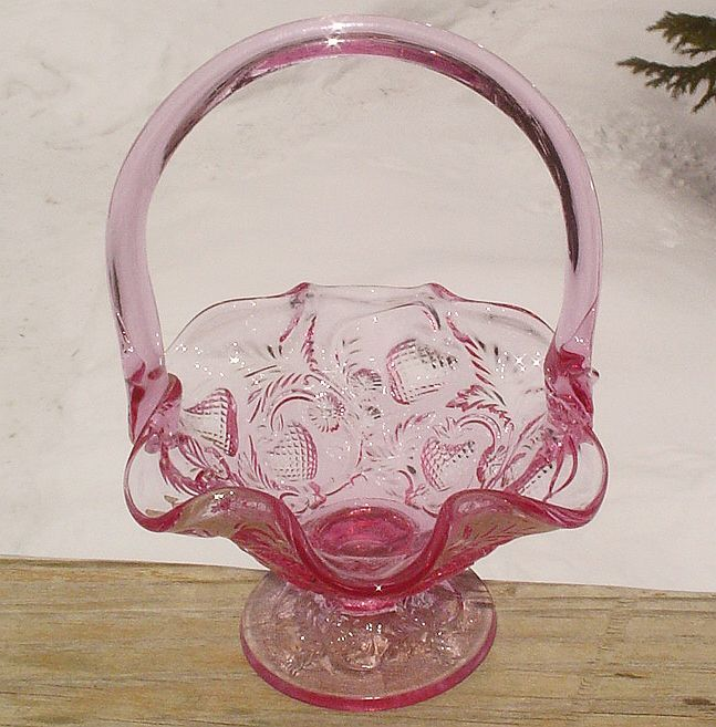 Fenton Inverted Strawberry Basket Dusty Rose/Lavender1980's