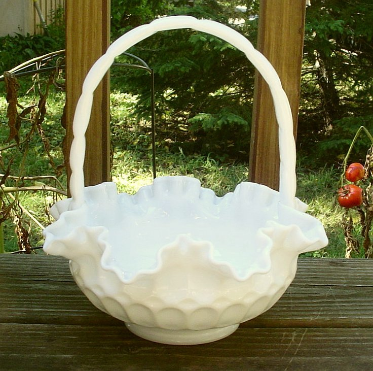 Fenton Thumbprint Milk Glass Basket