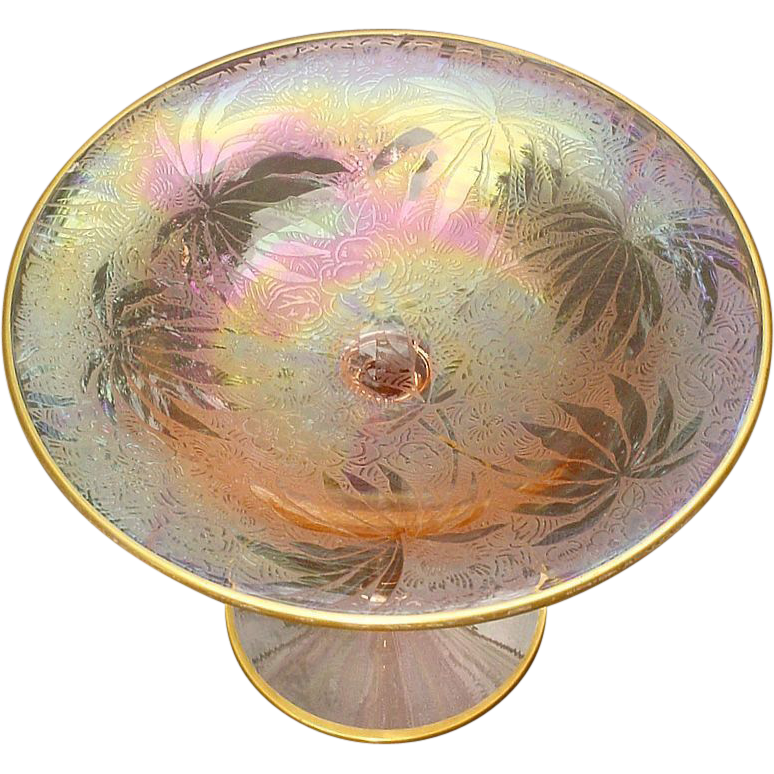 Fostoria Palm Leaf Brocade Iridescent Pink Etched Carnival Glass Compote