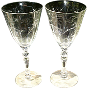 Fostoria Mulberry Cut  Tall Water Goblets--Two Stems