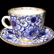 Flow Blue Cup & Saucer USSR Russian