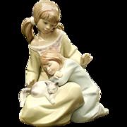 Lladro 1534 Little Sister Figurine Girl w Child & Cat C1987