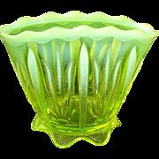 Fenton Cactus Topaz Fan Vase Vaseline Opalescent