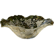 Heisey Plantation Ivy Etched Pineapple Centerpiece Bowl