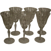 Morgantown Mayfair 6 Water Goblets Tall Stems