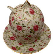 Lefton Rose Chintz Jam/Marmalade Set