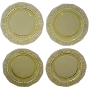 Fostoria Trojan Topaz Yellow Salad Plates Set of 4