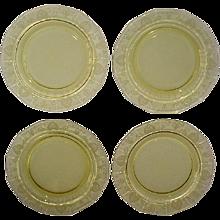 Fostoria Trojan Topaz Yellow Salad Plates Set of 4