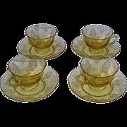 Fostoria Trojan Topaz Yellow Cups and Saucers Set of 4