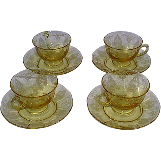 Fostoria Trojan Topaz Yellow Cups and Saucers Set of 4