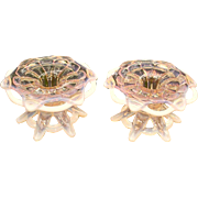 Duncan Miller Murano Pink Opalescent Candle Holders/Flower Frogs