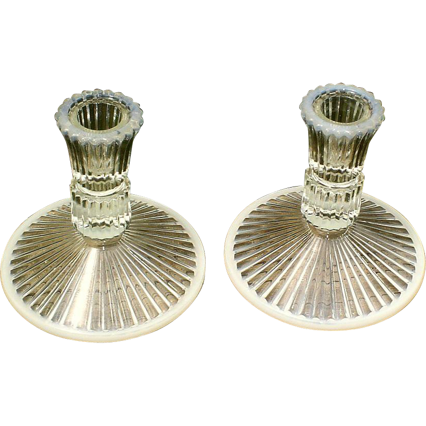 Fenton Sheffield French Opalescent Candleholders 1980's