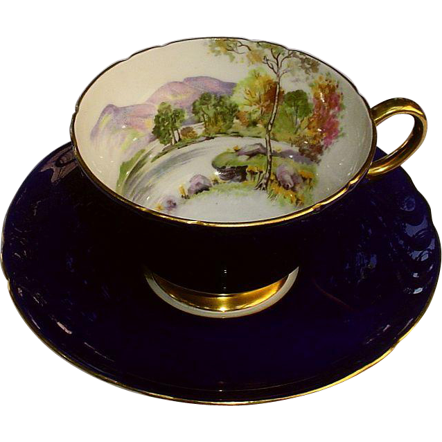 Shelley English Lakes Cup & Saucer Scarce Blue Exterior 13828/42