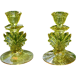 Fostoria Baroque Tall Candleholders Topaz Yellow W/Original Label