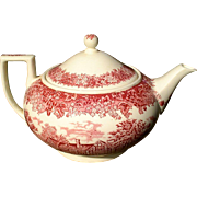 Wedgwood Romantic England Red/Pink Transferware Teapot The White Swan