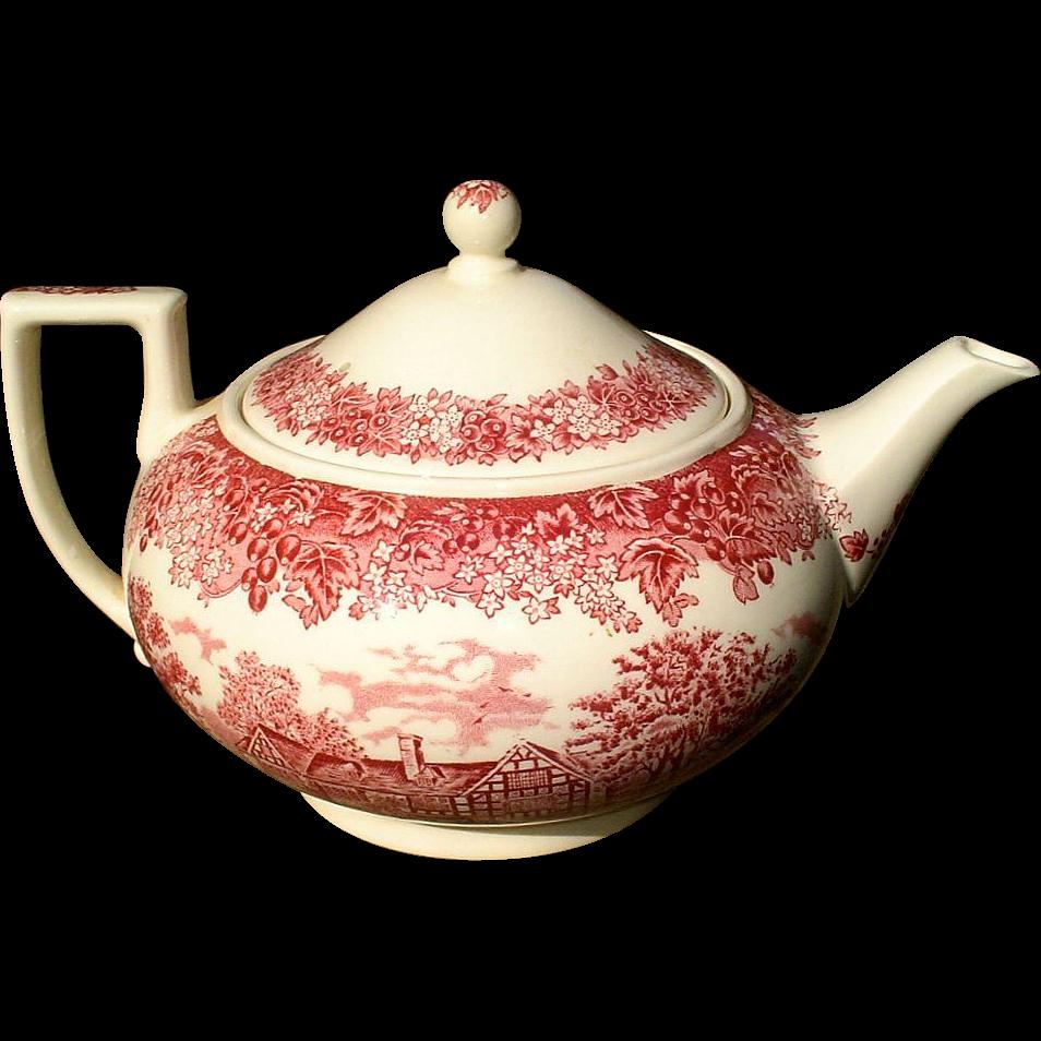 Wedgwood Romantic England Red/Pink Transferware Teapot The White Swan