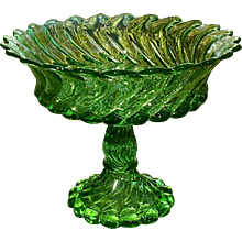 Fostoria Queen Anne Green High Footed Bowl Compote