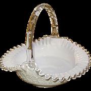 "Fenton Silver Crest W/Spanish Lace 10"" Basket #3537-SC"