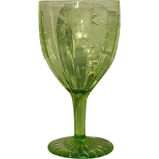 Grape Cut Green Depression Goblets 8 Standard Glass