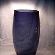 Lg  Deep Blue Glass Mid Century Vase