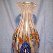 Tall Murano Glass Vase w/ Latticino & Murrines c. 1950