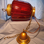 Vintage Ceiling Pendant Light w/ Ruby Shade