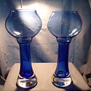 Bergdala Sweden Blue Crystal Candleholders