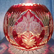 Large Ruby Cut and Engraved Flower Bowl