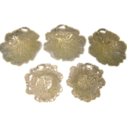 5 Fenton Vaseline Leaf Plates.