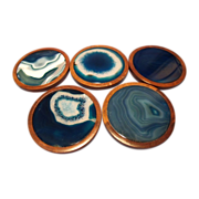 Set of 5 Geode & Walnut Coasters