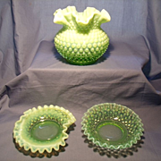 Fenton C. 1940 Opalescent Green -  3 pieces