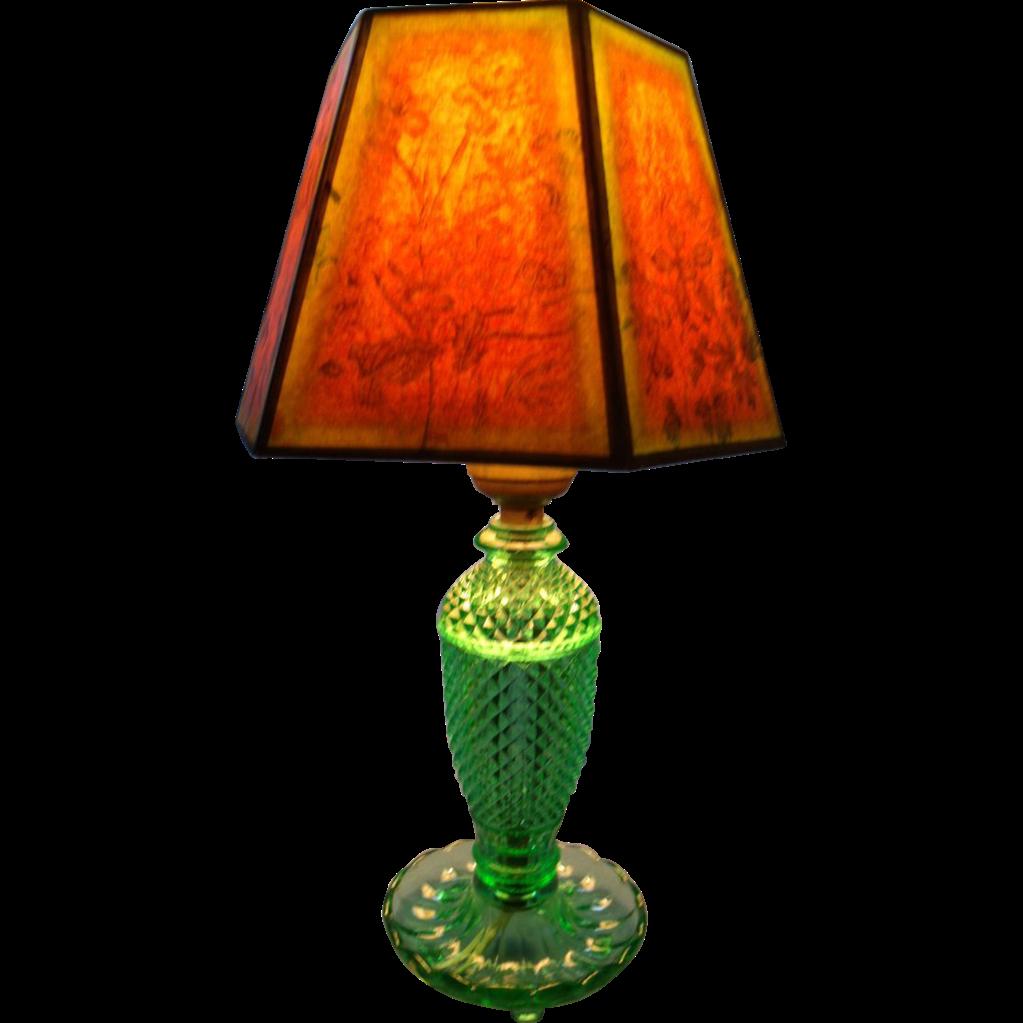 Diamond Cut Depression Lamp W Original Shade Sold On Ruby
