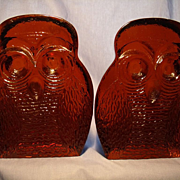Pair Blenko Owl Bookends