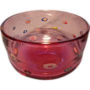 Cranberry Art Glass Bowl with Murrines