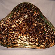 """Murano """"Tri"""" Bowl in Emerald Green and Copper"""