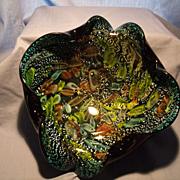 Large Murano Black and Foil Murrine Bowl