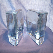 Vintage Blenko #434 Half Round Bookends