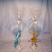 "Pair Murano ""Jungle"" Art Glass Goblets"