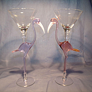 Pair Murano Tropical Bird Wine Goblets