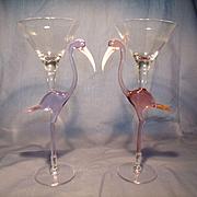 Pair Murano Tropical Bird Wine Goblets