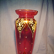 Tall Moser 19th Century Cranberry Vase