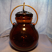 Blown Art Glass Honey Pot- Signed
