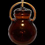 Blown Art Glass Honey Pot- Signed