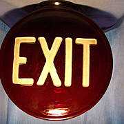Vintage Ruby Glass Exit Sign